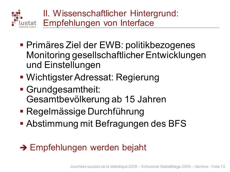 Journées suisses de la statistique 2009 – Schweizer Statistiktage 2009 – Genève - Folie 13 II. Wissenschaftlicher Hintergrund: Empfehlungen von Interf
