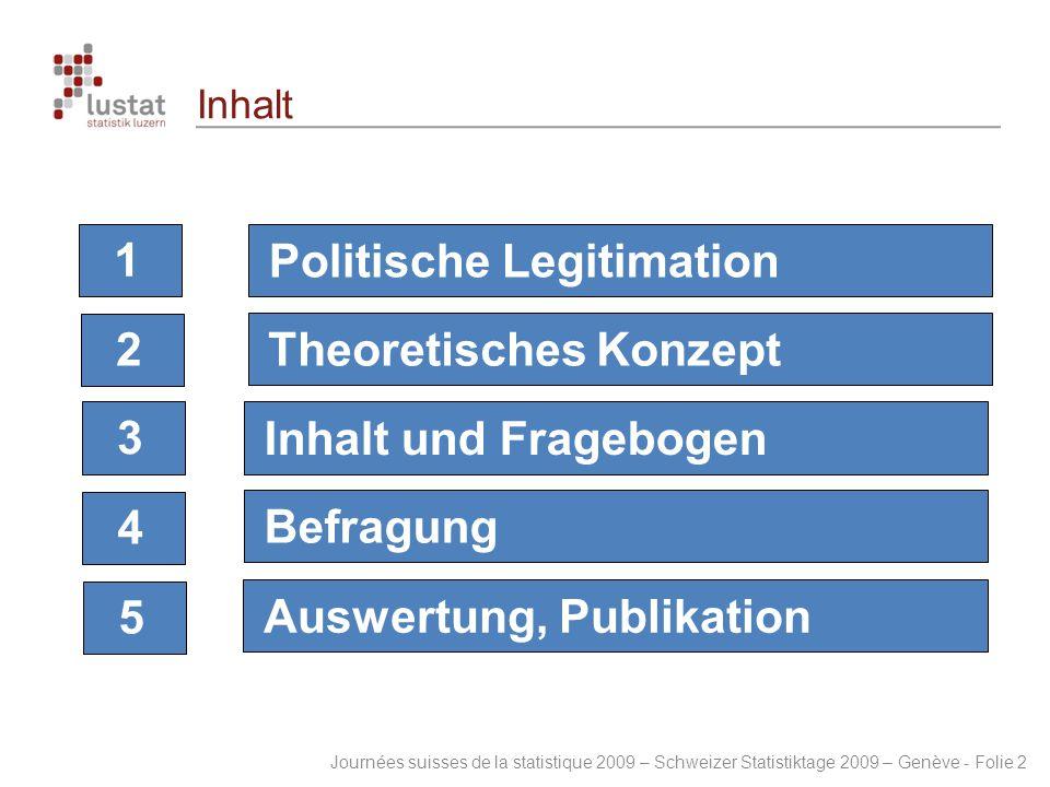 Journées suisses de la statistique 2009 – Schweizer Statistiktage 2009 – Genève - Folie 2 Inhalt 12345 Politische LegitimationTheoretisches KonzeptInh