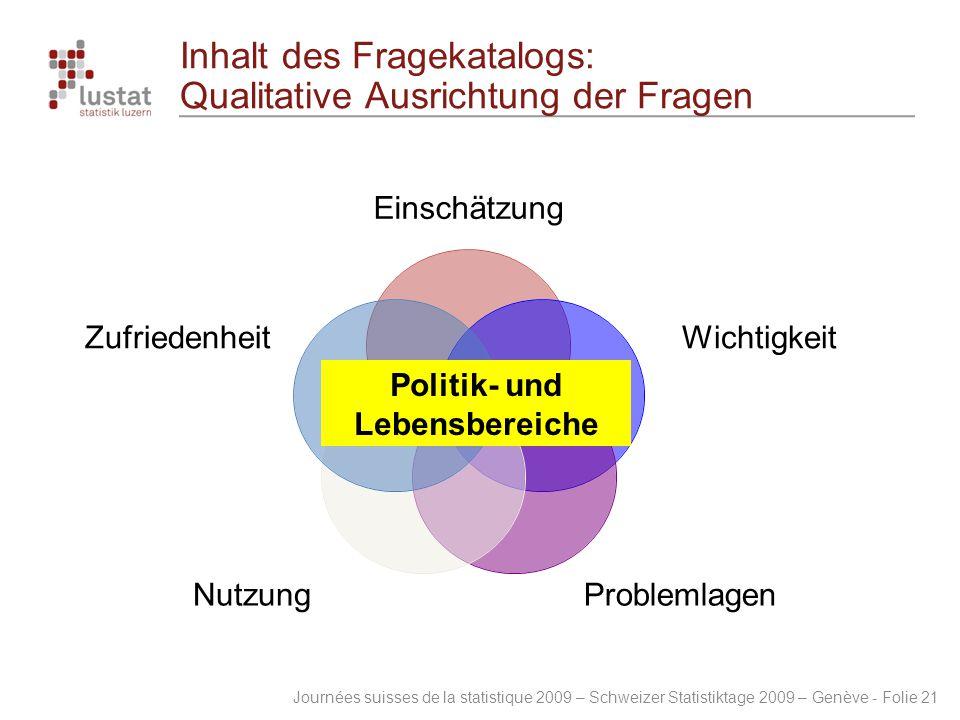 Journées suisses de la statistique 2009 – Schweizer Statistiktage 2009 – Genève - Folie 21 Inhalt des Fragekatalogs: Qualitative Ausrichtung der Frage