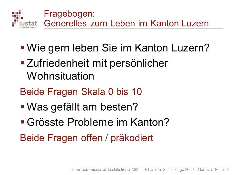 Journées suisses de la statistique 2009 – Schweizer Statistiktage 2009 – Genève - Folie 23 Fragebogen: Generelles zum Leben im Kanton Luzern  Wie ger