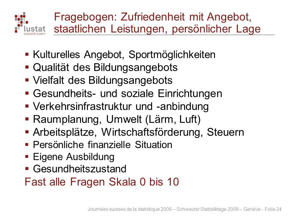 Journées suisses de la statistique 2009 – Schweizer Statistiktage 2009 – Genève - Folie 24 Fragebogen: Zufriedenheit mit Angebot, staatlichen Leistung