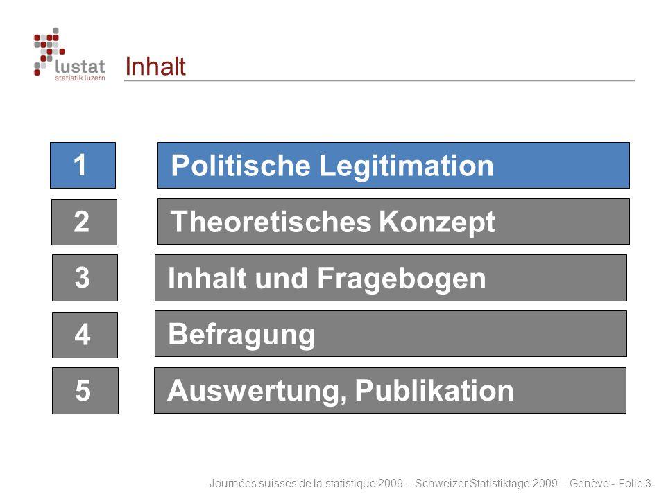 Journées suisses de la statistique 2009 – Schweizer Statistiktage 2009 – Genève - Folie 3 Inhalt 1 2 3 4 5 Politische Legitimation Theoretisches Konze