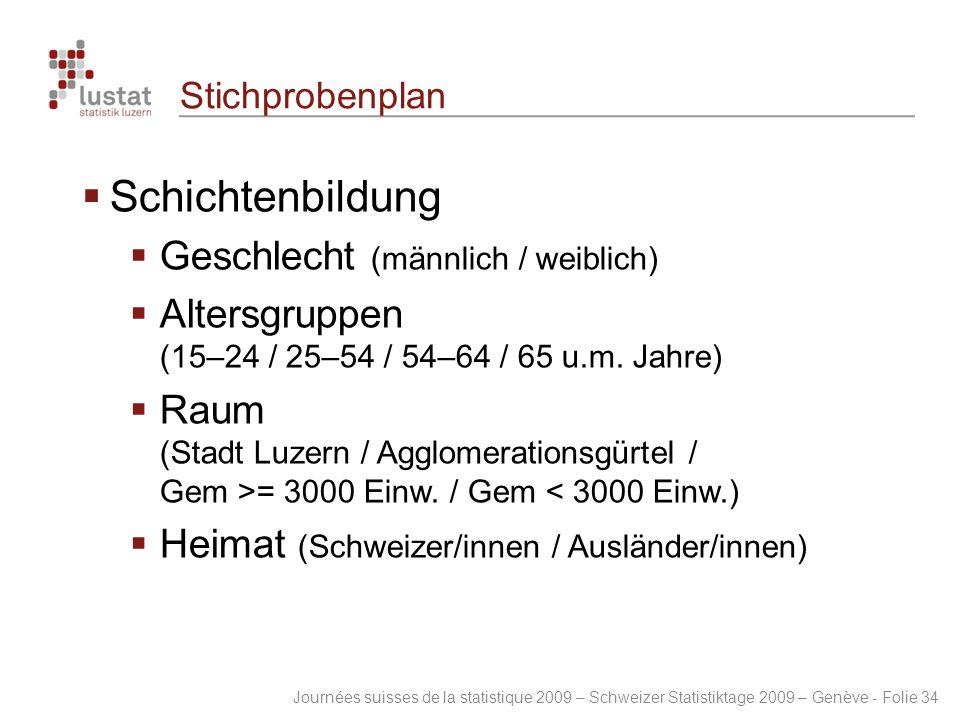 Journées suisses de la statistique 2009 – Schweizer Statistiktage 2009 – Genève - Folie 34 Stichprobenplan  Schichtenbildung  Geschlecht (männlich /