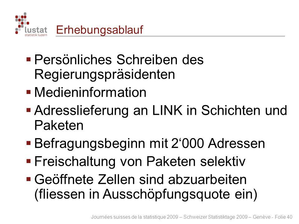 Journées suisses de la statistique 2009 – Schweizer Statistiktage 2009 – Genève - Folie 40 Erhebungsablauf  Persönliches Schreiben des Regierungspräs