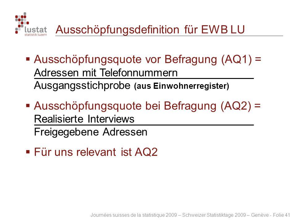 Journées suisses de la statistique 2009 – Schweizer Statistiktage 2009 – Genève - Folie 41 Ausschöpfungsdefinition für EWB LU  Ausschöpfungsquote vor
