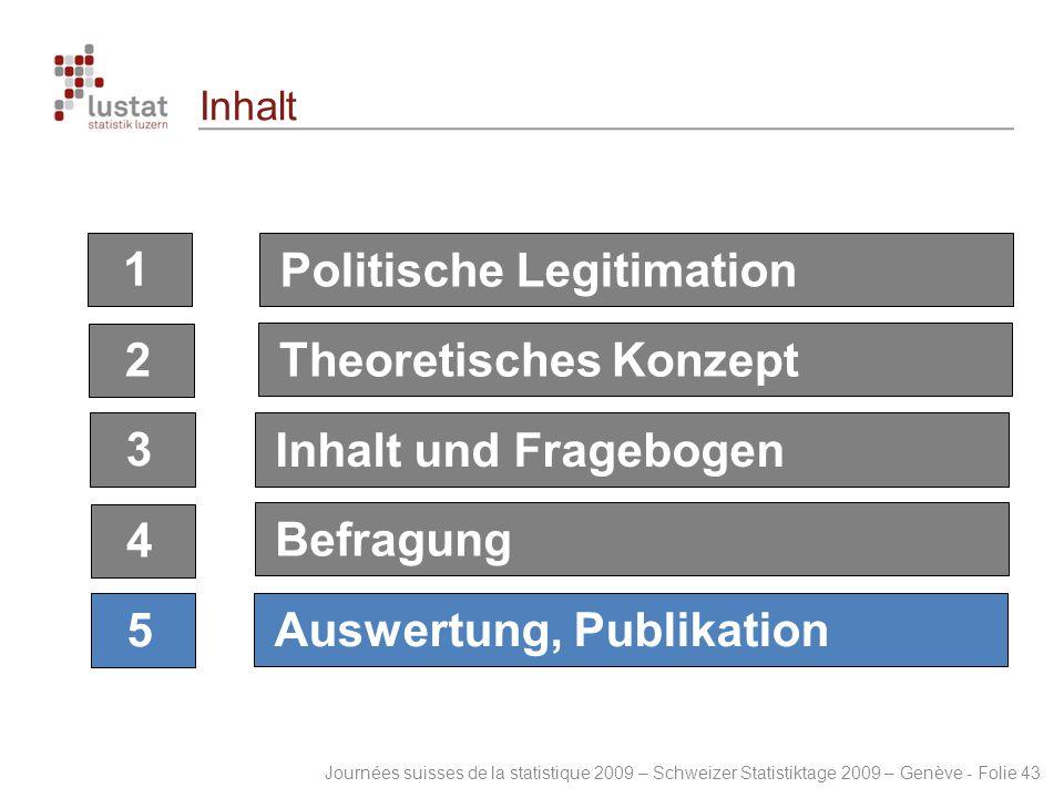 Journées suisses de la statistique 2009 – Schweizer Statistiktage 2009 – Genève - Folie 43 Inhalt 123 4 5 Politische LegitimationTheoretisches Konzept