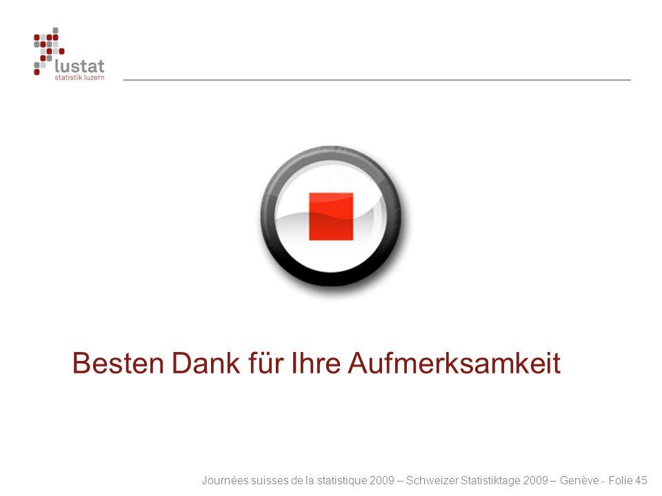 Journées suisses de la statistique 2009 – Schweizer Statistiktage 2009 – Genève - Folie 45 Besten Dank für Ihre Aufmerksamkeit
