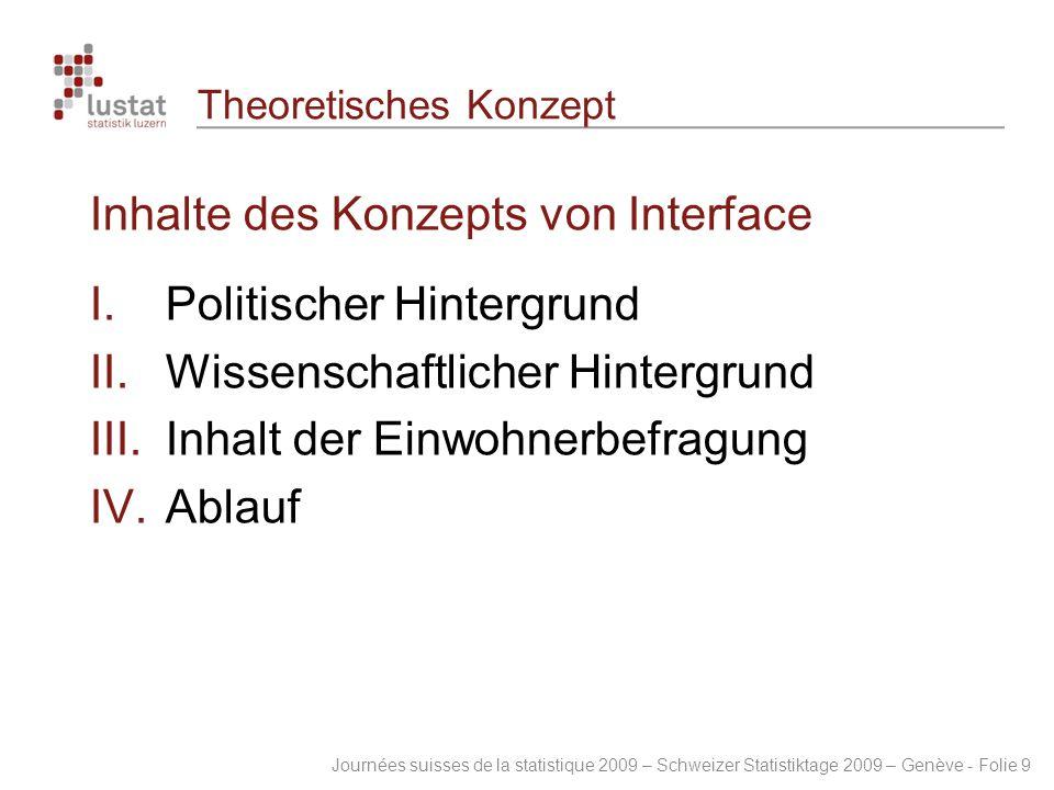 Journées suisses de la statistique 2009 – Schweizer Statistiktage 2009 – Genève - Folie 9 Theoretisches Konzept Inhalte des Konzepts von Interface 