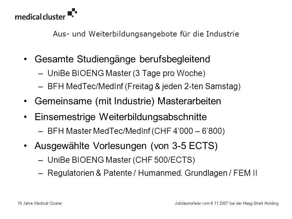 10 Jahre Medical Cluster Jubiläumsfeier vom 8.11.2007 bei der Haag-Streit Holding Aus- und Weiterbildungsangebote für die Industrie Gesamte Studiengänge berufsbegleitend –UniBe BIOENG Master (3 Tage pro Woche) –BFH MedTec/MedInf (Freitag & jeden 2-ten Samstag) Gemeinsame (mit Industrie) Masterarbeiten Einsemestrige Weiterbildungsabschnitte –BFH Master MedTec/MedInf (CHF 4'000 – 6'800) Ausgewählte Vorlesungen (von 3-5 ECTS) –UniBe BIOENG Master (CHF 500/ECTS) –Regulatorien & Patente / Humanmed.