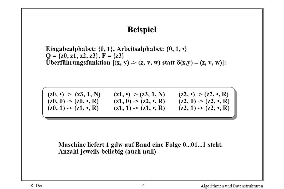 R. Der Algorithmen und Datenstrukturen 4 Beispiel (z0, ) -> (z3, 1, N) (z0, 0) -> (z0,, R) (z0, 1) -> (z1,, R) Maschine liefert 1 gdw auf Band eine Fo