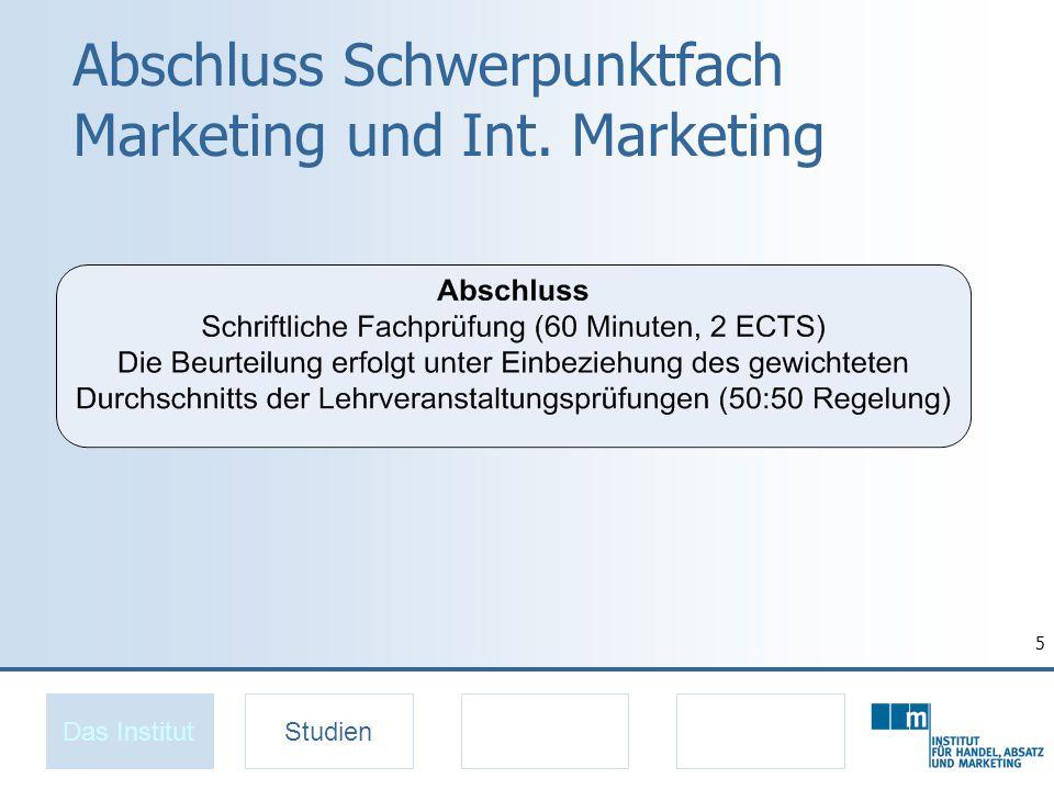 6 Spezialisierung Marketing ab 1.10.2009 Das InstitutStudien