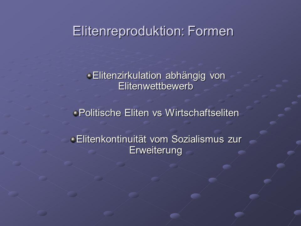 Elitenreproduktion: Formen Elitenzirkulation abhängig von Elitenwettbewerb Politische Eliten vs Wirtschaftseliten Elitenkontinuität vom Sozialismus zu