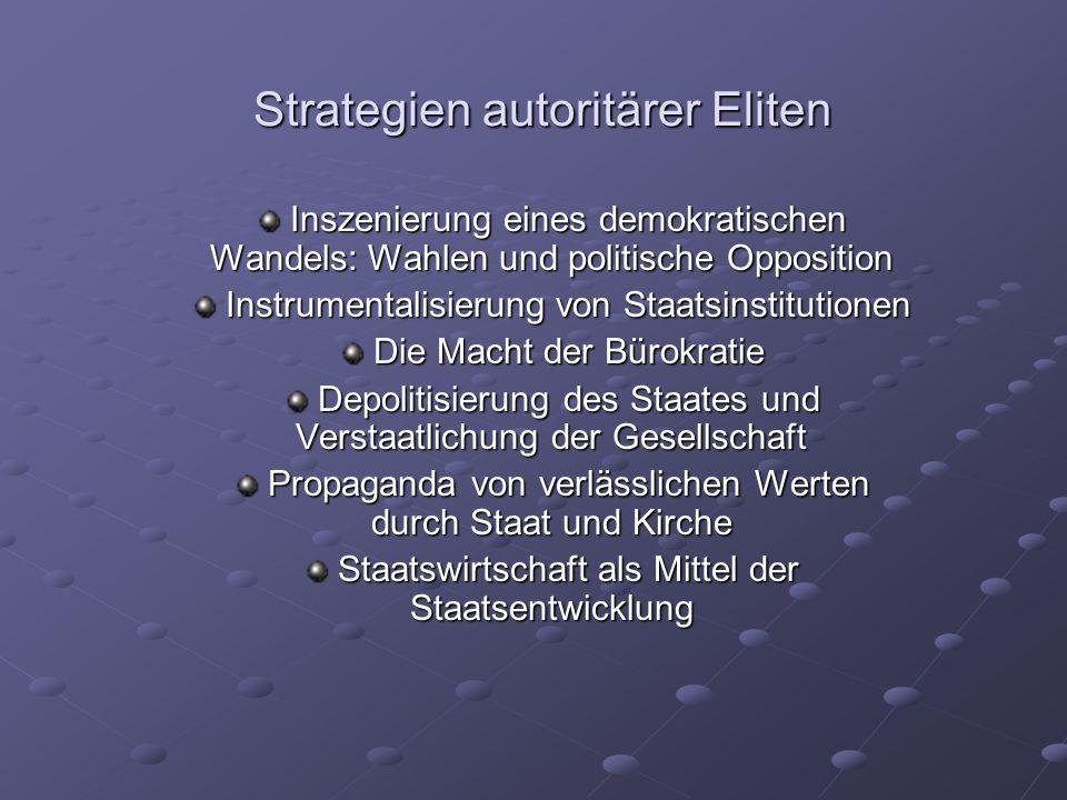 Strategien autoritärer Eliten Inszenierung eines demokratischen Wandels: Wahlen und politische Opposition Inszenierung eines demokratischen Wandels: W
