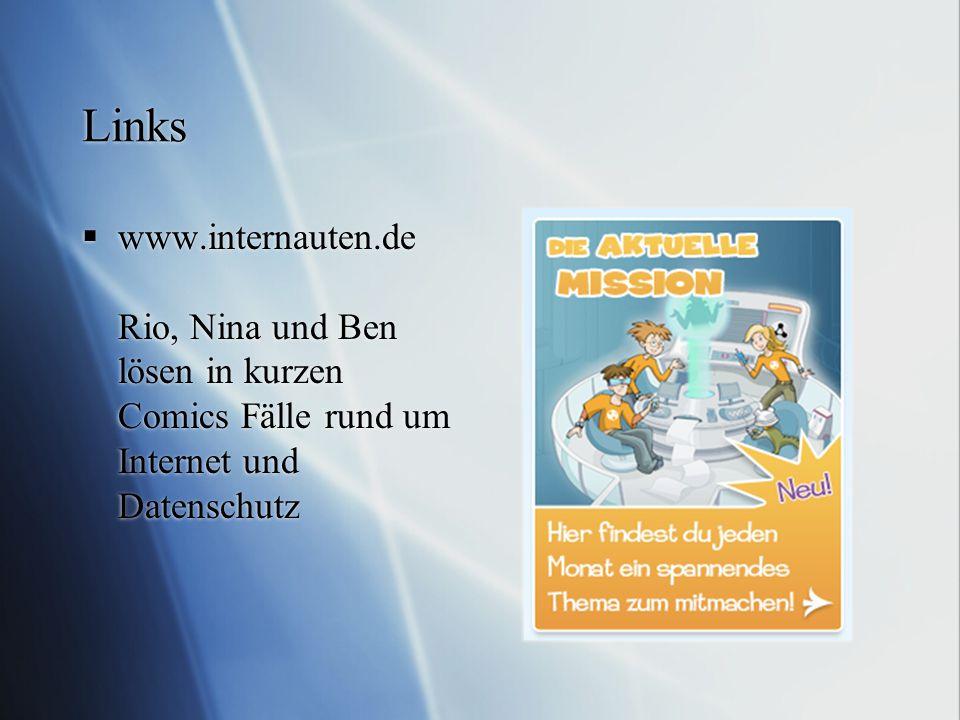 Links  www.internauten.de Rio, Nina und Ben lösen in kurzen Comics Fälle rund um Internet und Datenschutz