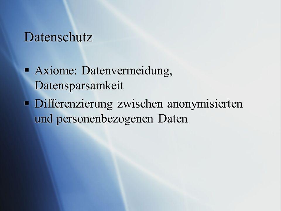 Datenschutz  Axiome: Datenvermeidung, Datensparsamkeit  Differenzierung zwischen anonymisierten und personenbezogenen Daten  Axiome: Datenvermeidun