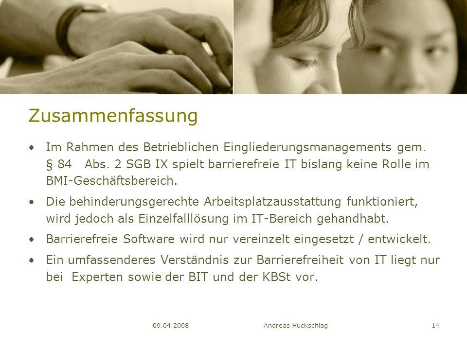 Zusammenfassung Im Rahmen des Betrieblichen Eingliederungsmanagements gem. § 84 Abs. 2 SGB IX spielt barrierefreie IT bislang keine Rolle im BMI-Gesch