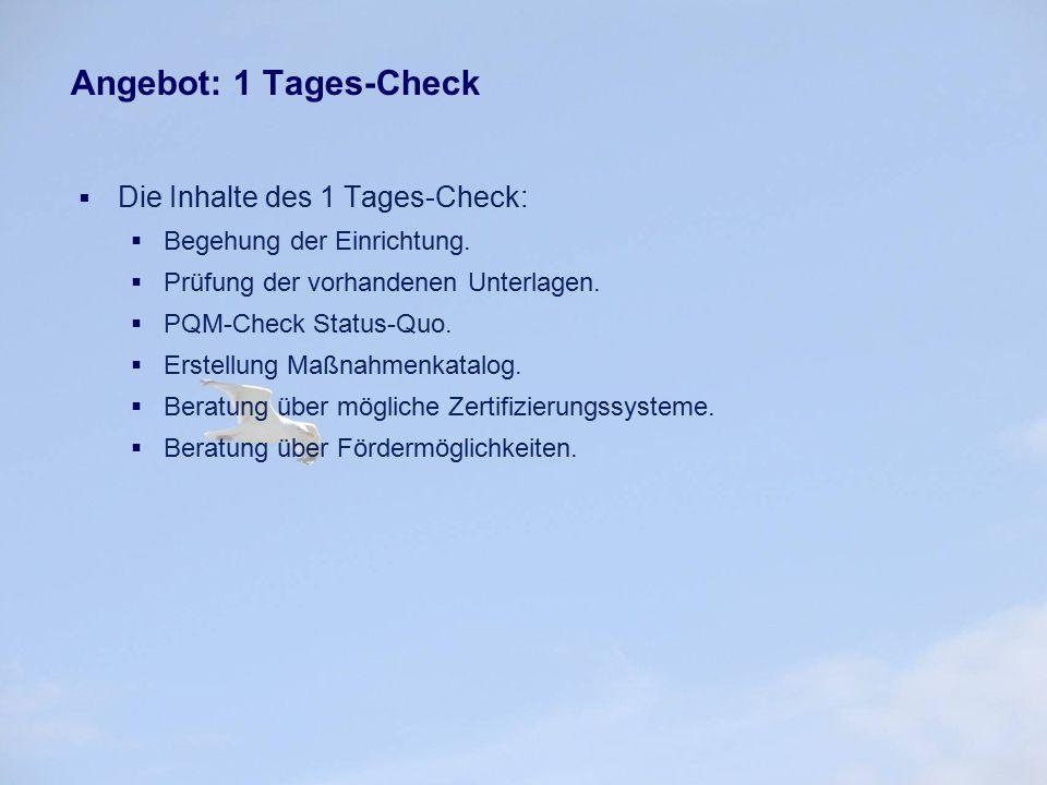Angebot: 1 Tages-Check  Die Inhalte des 1 Tages-Check:  Begehung der Einrichtung.  Prüfung der vorhandenen Unterlagen.  PQM-Check Status-Quo.  Er