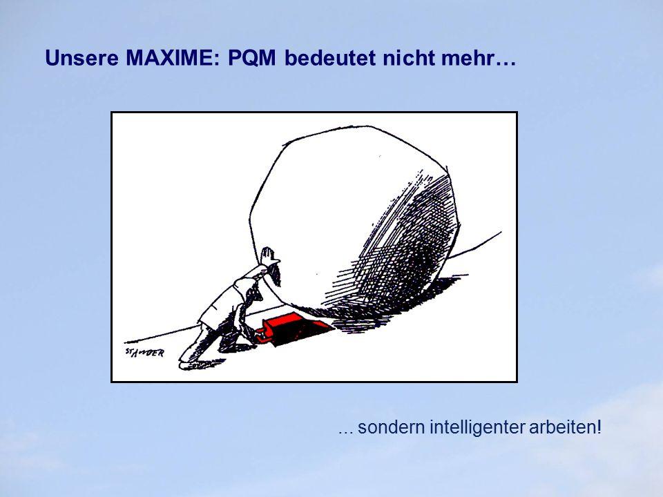 Unsere MAXIME: PQM bedeutet nicht mehr…... sondern intelligenter arbeiten!