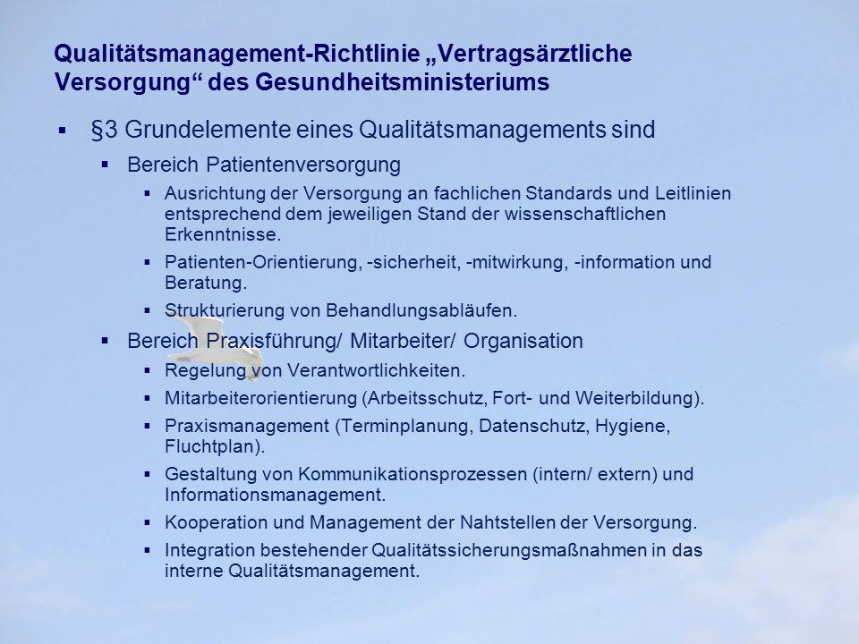 """Qualitätsmanagement-Richtlinie """"Vertragsärztliche Versorgung"""" des Gesundheitsministeriums  §3 Grundelemente eines Qualitätsmanagements sind  Bereich"""