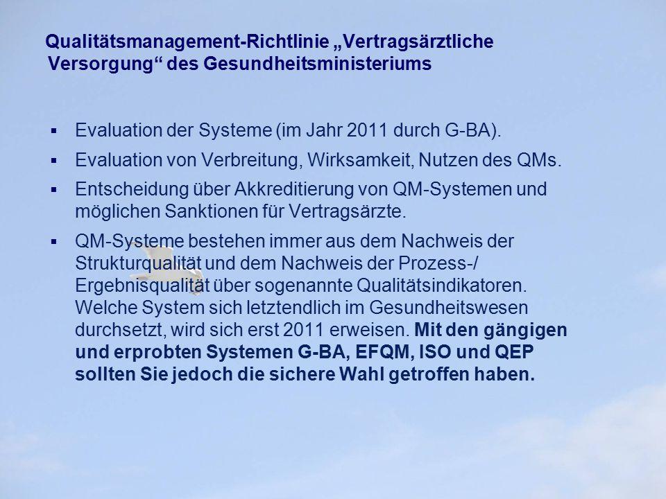 """Qualitätsmanagement-Richtlinie """"Vertragsärztliche Versorgung"""" des Gesundheitsministeriums  Evaluation der Systeme (im Jahr 2011 durch G-BA).  Evalua"""