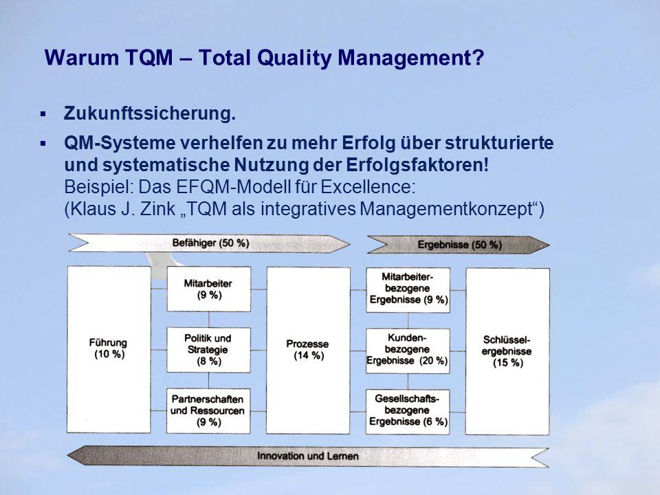 Warum TQM – Total Quality Management?  Zukunftssicherung.  QM-Systeme verhelfen zu mehr Erfolg über strukturierte und systematische Nutzung der Erfo
