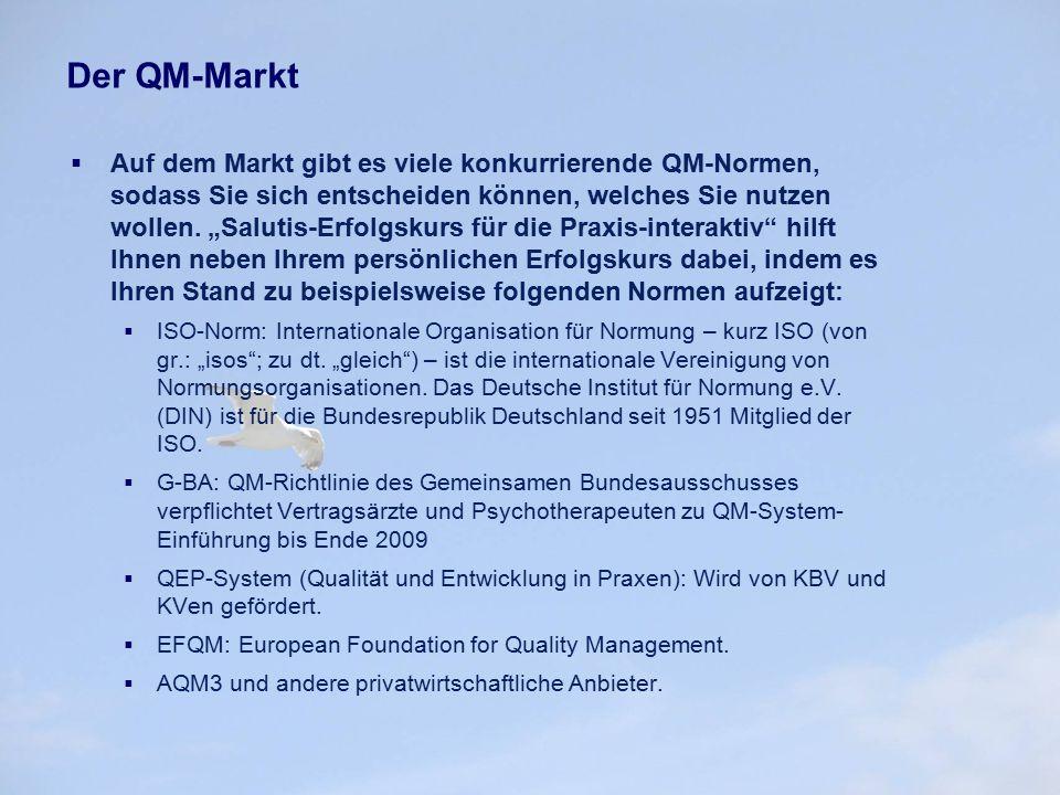 """Der QM-Markt  Auf dem Markt gibt es viele konkurrierende QM-Normen, sodass Sie sich entscheiden können, welches Sie nutzen wollen. """"Salutis-Erfolgsku"""
