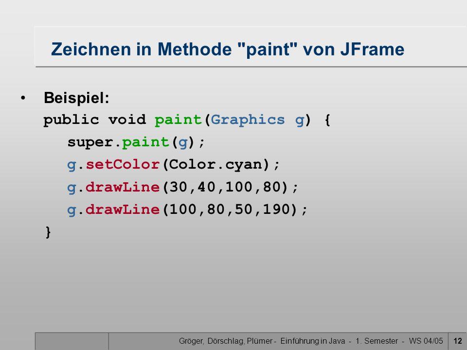 Gröger, Dörschlag, Plümer - Einführung in Java - 1. Semester - WS 04/0512 Zeichnen in Methode