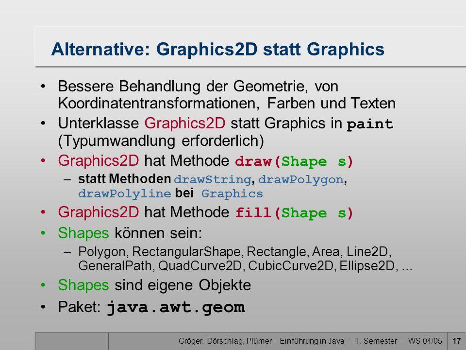 Gröger, Dörschlag, Plümer - Einführung in Java - 1. Semester - WS 04/0517 Alternative: Graphics2D statt Graphics Bessere Behandlung der Geometrie, von