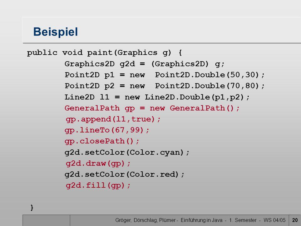 Gröger, Dörschlag, Plümer - Einführung in Java - 1. Semester - WS 04/0520 Beispiel public void paint(Graphics g) { Graphics2D g2d = (Graphics2D) g; Po
