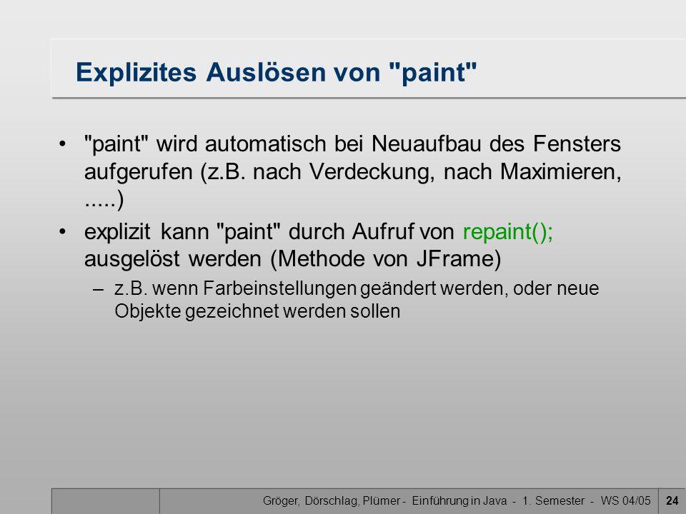 Gröger, Dörschlag, Plümer - Einführung in Java - 1. Semester - WS 04/0524 Explizites Auslösen von