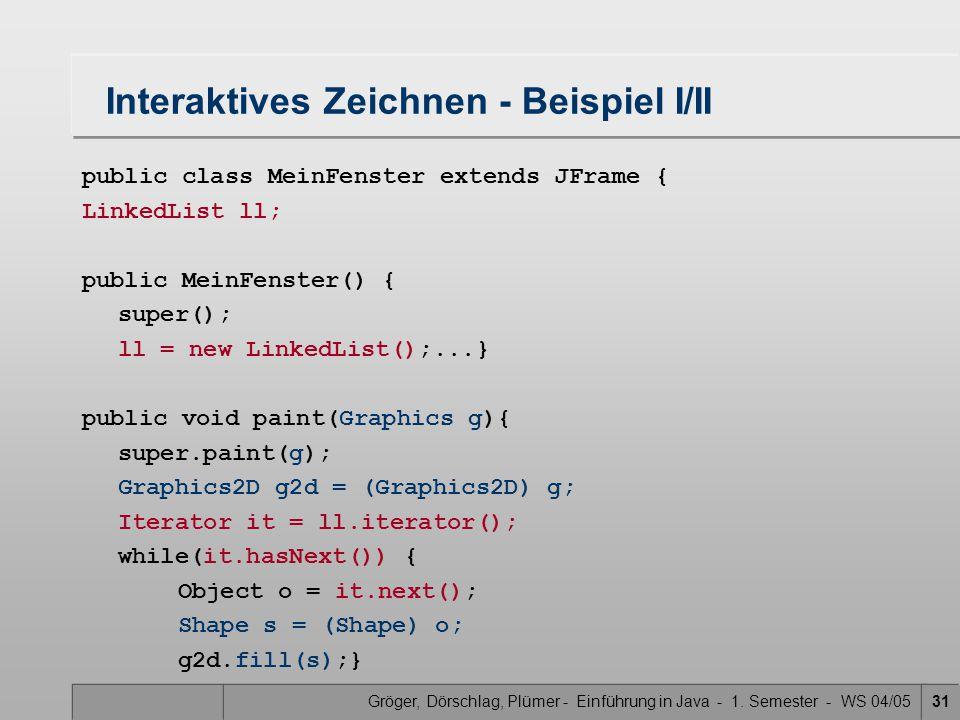 Gröger, Dörschlag, Plümer - Einführung in Java - 1. Semester - WS 04/0531 Interaktives Zeichnen - Beispiel I/II public class MeinFenster extends JFram