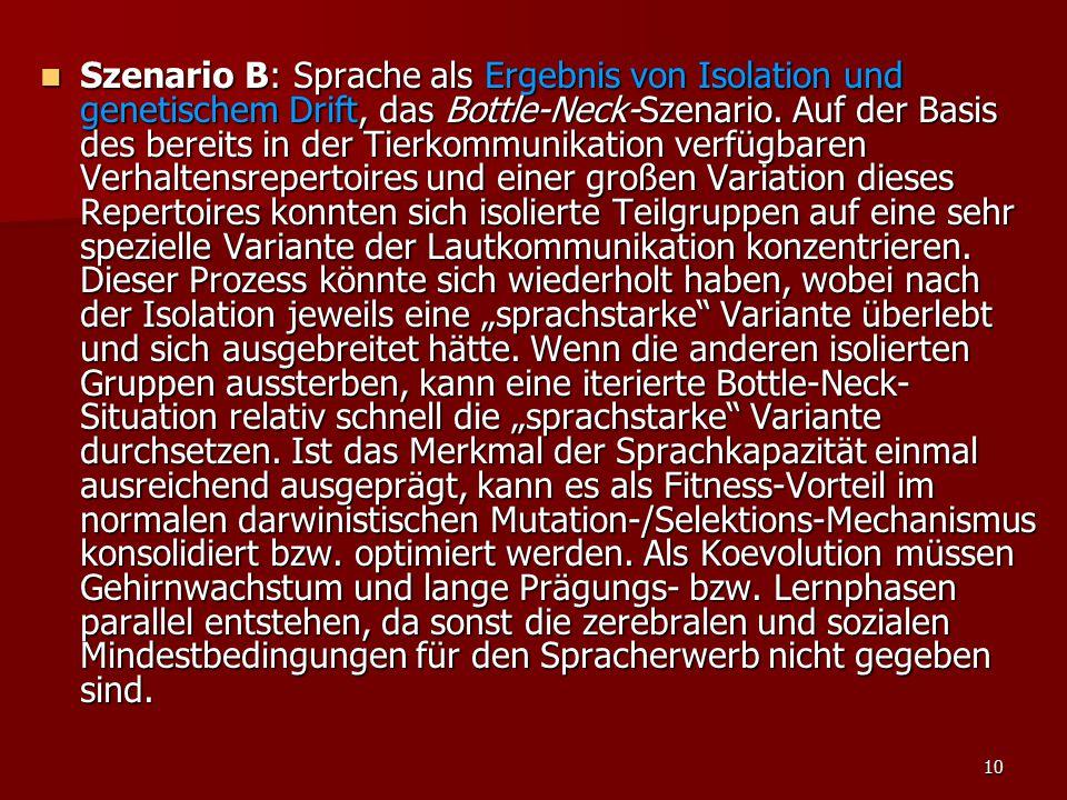 10 Szenario B: Sprache als Ergebnis von Isolation und genetischem Drift, das Bottle-Neck-Szenario.