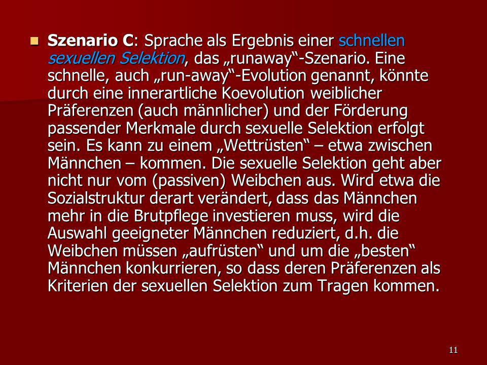 """11 Szenario C: Sprache als Ergebnis einer schnellen sexuellen Selektion, das """"runaway""""-Szenario. Eine schnelle, auch """"run-away""""-Evolution genannt, kön"""