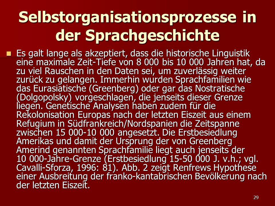 29 Selbstorganisationsprozesse in der Sprachgeschichte Es galt lange als akzeptiert, dass die historische Linguistik eine maximale Zeit-Tiefe von 8 00