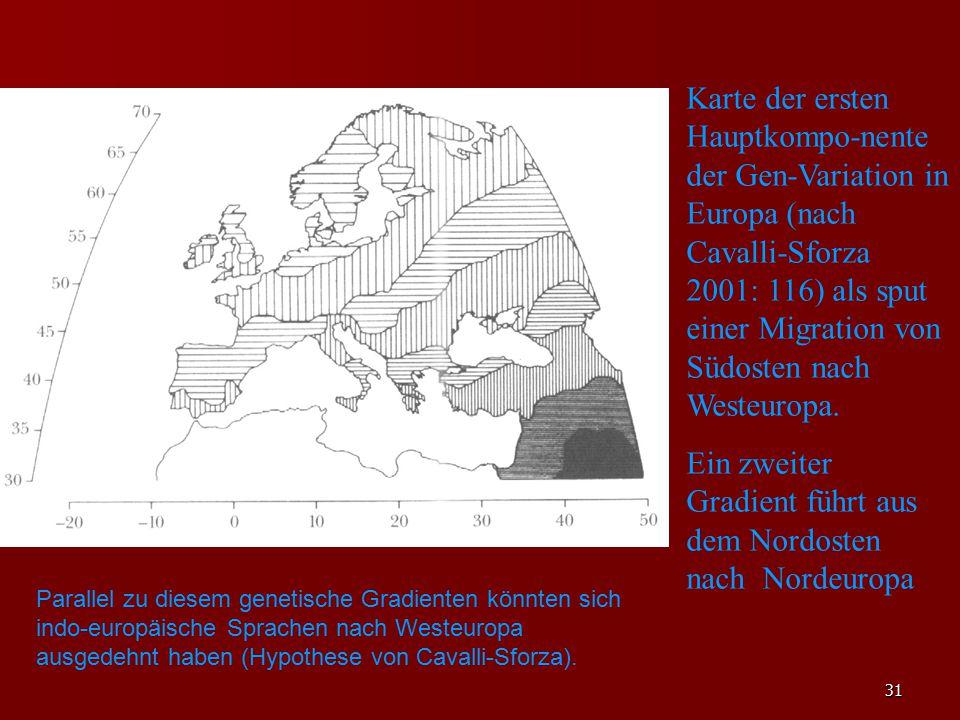 31 Karte der ersten Hauptkompo-nente der Gen-Variation in Europa (nach Cavalli-Sforza 2001: 116) als sput einer Migration von Südosten nach Westeuropa.