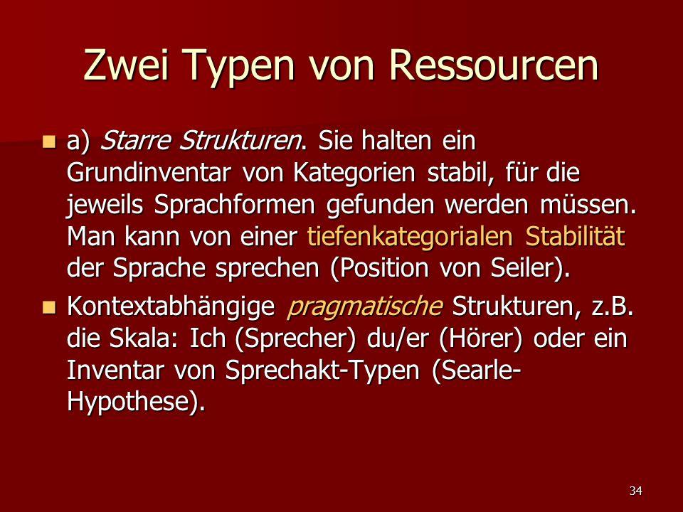 34 Zwei Typen von Ressourcen a) Starre Strukturen. Sie halten ein Grundinventar von Kategorien stabil, für die jeweils Sprachformen gefunden werden mü