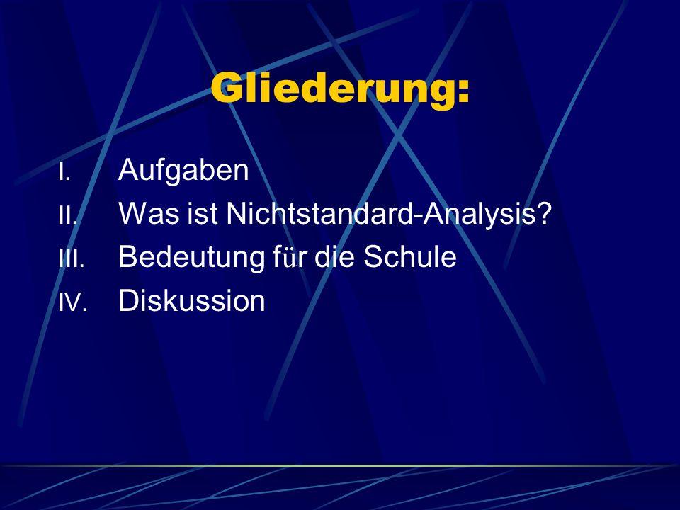 Gliederung: I. Aufgaben II. Was ist Nichtstandard-Analysis.