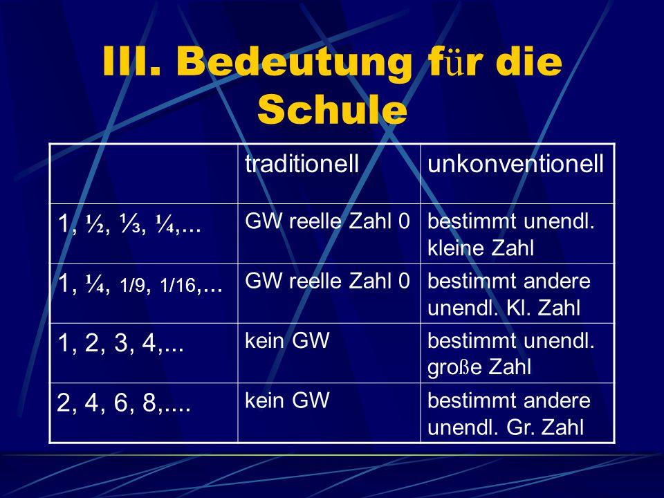 III. Bedeutung f ü r die Schule traditionellunkonventionell 1, ½, ⅓, ¼,...