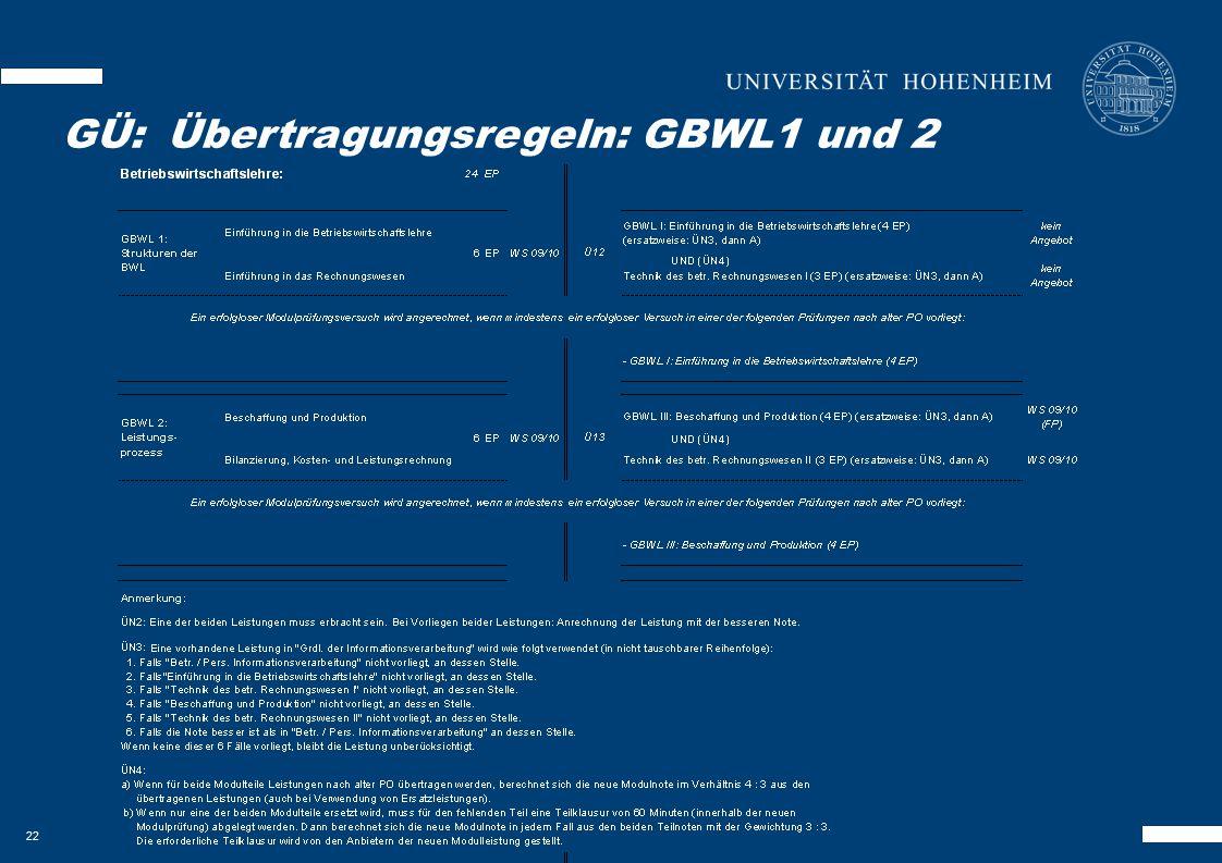 22 GKOM – Besonderheiten GÜ:Übertragungsregeln: GBWL1 und 2