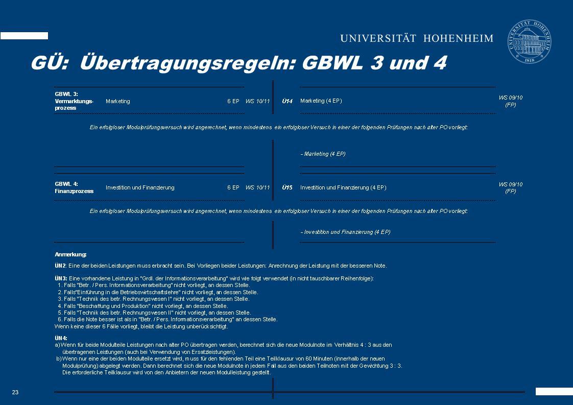 23 GKOM – Besonderheiten GÜ:Übertragungsregeln: GBWL 3 und 4