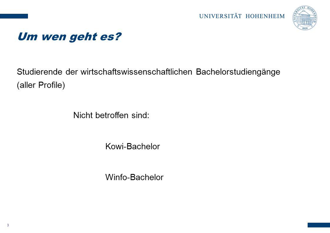 3 Studierende der wirtschaftswissenschaftlichen Bachelorstudiengänge (aller Profile) Nicht betroffen sind: Kowi-Bachelor Winfo-Bachelor Um wen geht es