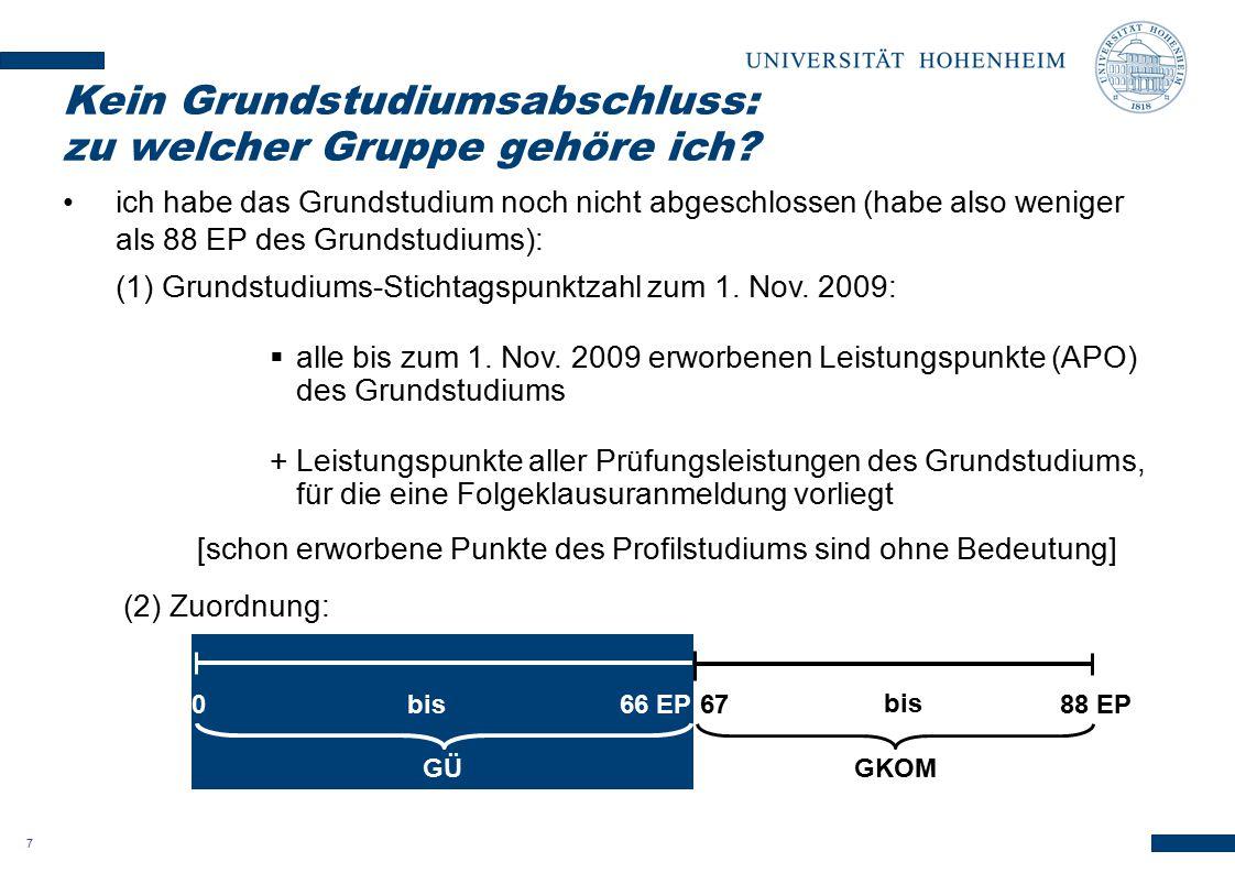 7 ich habe das Grundstudium noch nicht abgeschlossen (habe also weniger als 88 EP des Grundstudiums): (1) Grundstudiums-Stichtagspunktzahl zum 1. Nov.