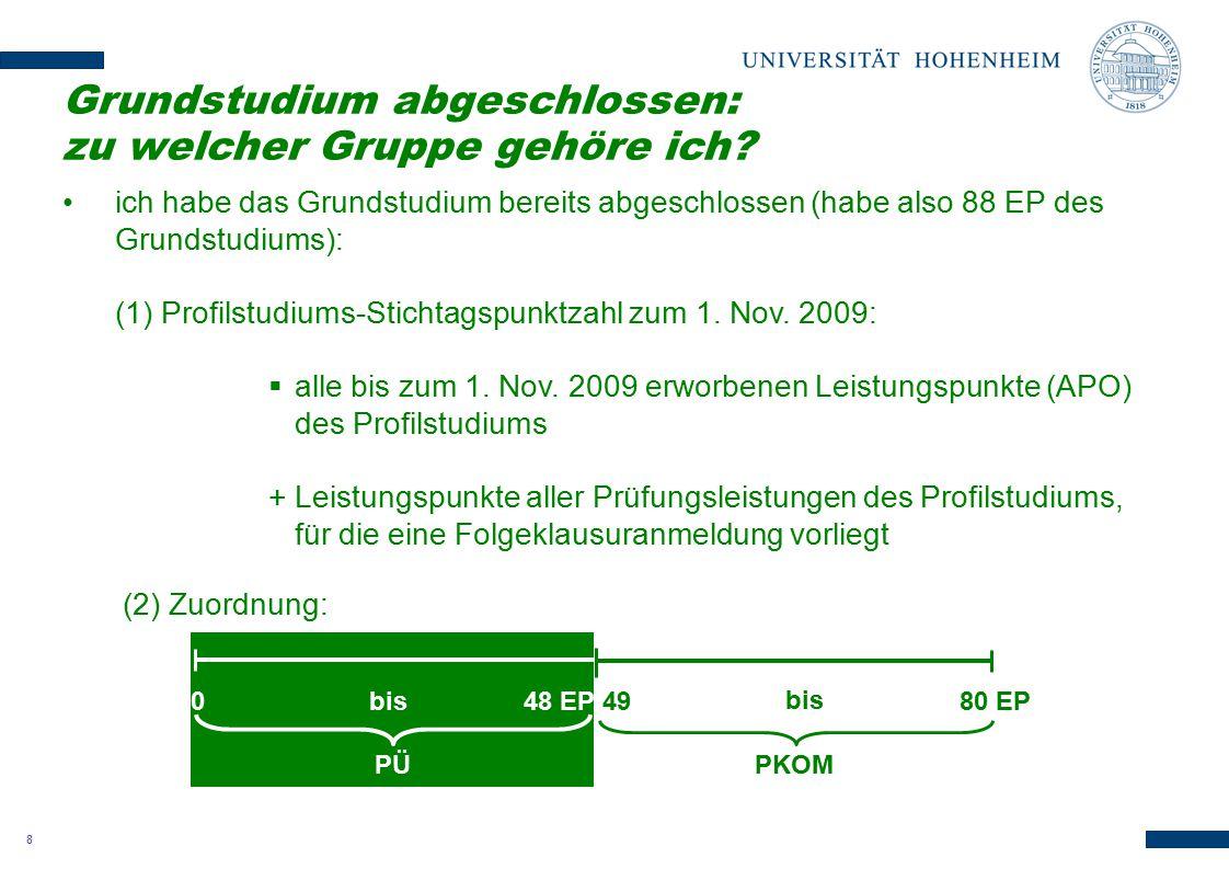 8 ich habe das Grundstudium bereits abgeschlossen (habe also 88 EP des Grundstudiums): (1) Profilstudiums-Stichtagspunktzahl zum 1. Nov. 2009:  alle