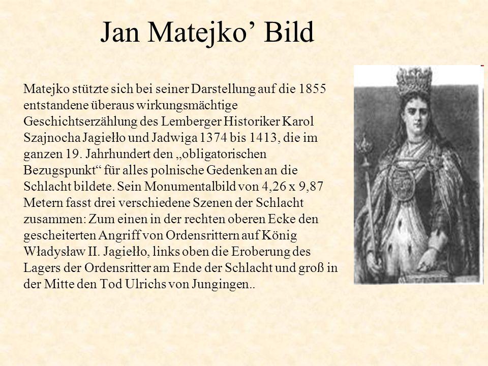 Matejko stützte sich bei seiner Darstellung auf die 1855 entstandene überaus wirkungsmächtige Geschichtserzählung des Lemberger Historiker Karol Szajnocha Jagiełło und Jadwiga 1374 bis 1413, die im ganzen 19.