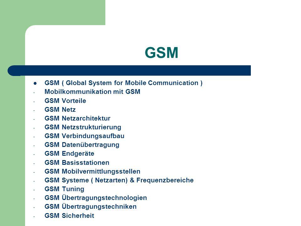 GSM GSM ( Global System for Mobile Communication ) - Mobilkommunikation mit GSM - GSM Vorteile - GSM Netz - GSM Netzarchitektur - GSM Netzstrukturieru
