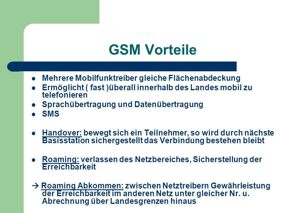 GSM Vorteile Mehrere Mobilfunktreiber gleiche Flächenabdeckung Ermöglicht ( fast )überall innerhalb des Landes mobil zu telefonieren Sprachübertragung