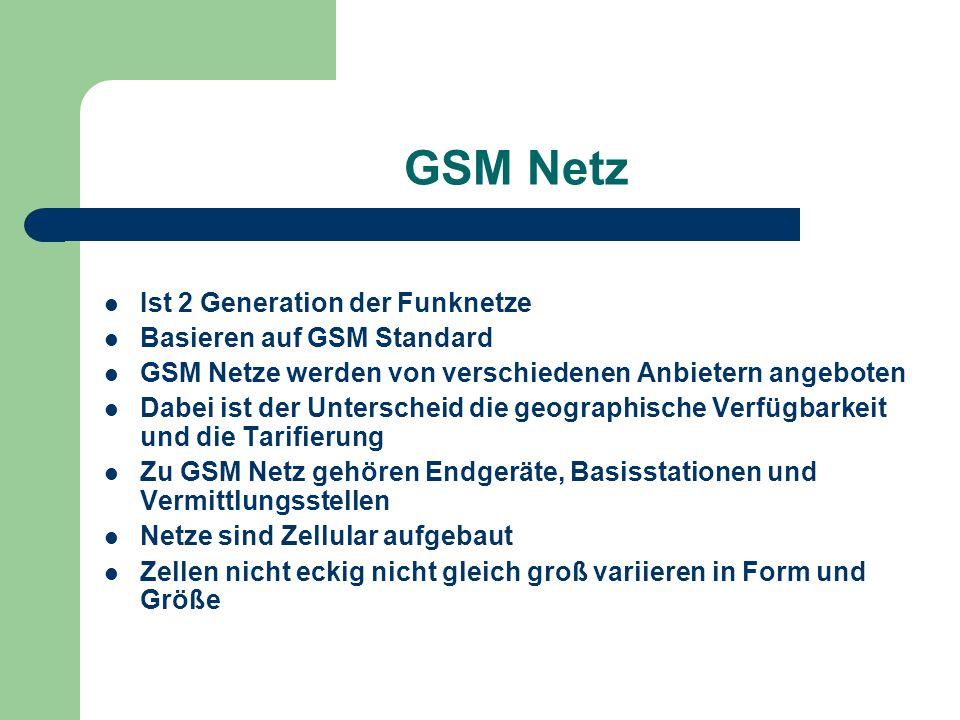 GSM Netz Ist 2 Generation der Funknetze Basieren auf GSM Standard GSM Netze werden von verschiedenen Anbietern angeboten Dabei ist der Unterscheid die