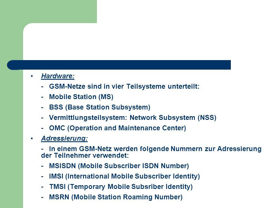 Hardware: - GSM-Netze sind in vier Teilsysteme unterteilt: - Mobile Station (MS) - BSS (Base Station Subsystem) - Vermittlungsteilsystem: Network Subs