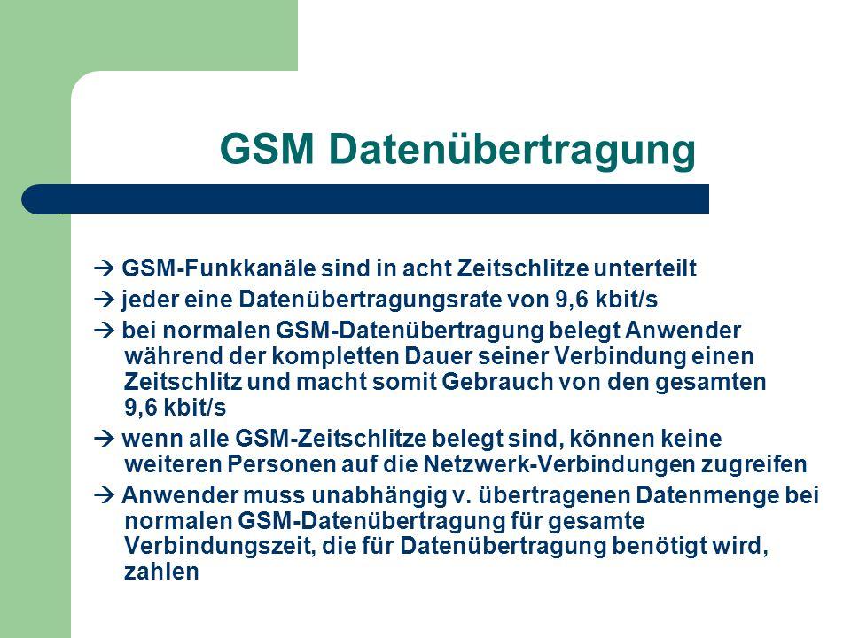 GSM Datenübertragung  GSM-Funkkanäle sind in acht Zeitschlitze unterteilt  jeder eine Datenübertragungsrate von 9,6 kbit/s  bei normalen GSM-Datenü