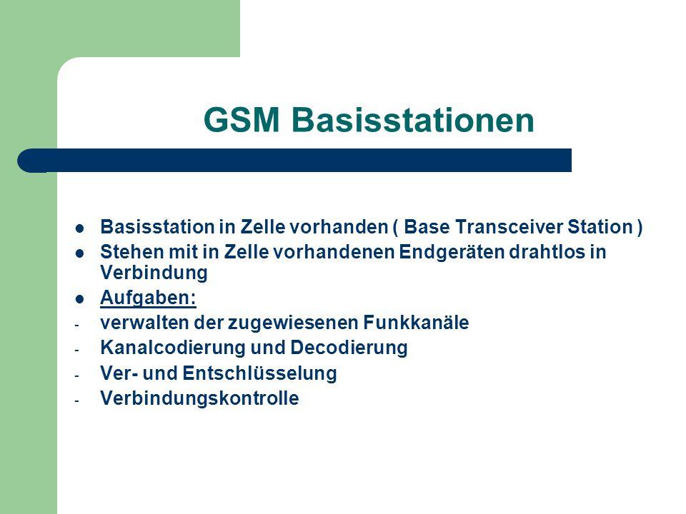 GSM Basisstationen Basisstation in Zelle vorhanden ( Base Transceiver Station ) Stehen mit in Zelle vorhandenen Endgeräten drahtlos in Verbindung Aufg